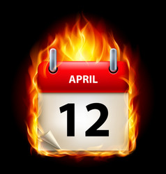 twelfth april in calendar burning icon on black vector image vector image