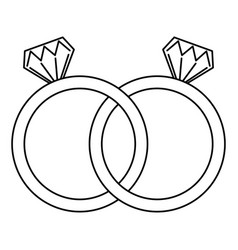 Wedding rings jewelry diamonds unity vector
