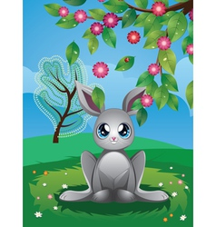 White rabbit on lawn vector