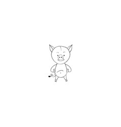 Wild boar cartoon icon vector