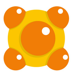 yellow and orange molecules icon isolated vector image vector image