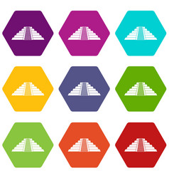 Ziggurat in chichen itza icon set color hexahedron vector