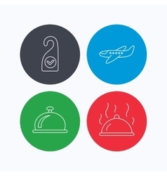 Hot food reception bell and clean room icons vector