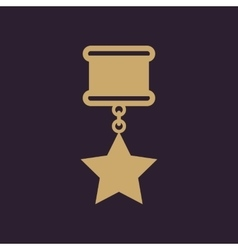 The medal icon reward symbol flat vector
