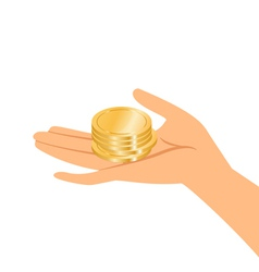 Hands holding gold coins vector