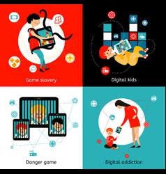 children internet addiction 4 flat icons vector image