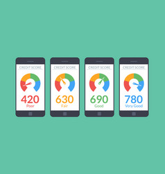 Collection smartphones with credit score app on vector