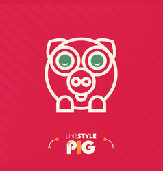 Line style pig vector