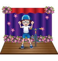A stage with a biker at the center vector