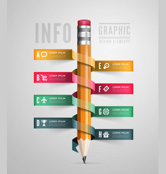 Creative Template with pencil ribbon vector image