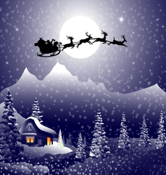 Santa sleigh on christmas night vector