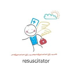 resuscitator flies to the patient vector image