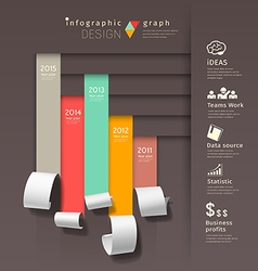 Show colorful paper roll infographics graph vector
