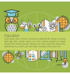 Education linear icons layout background vector