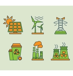 Ecological icons set eco bio and environment vector