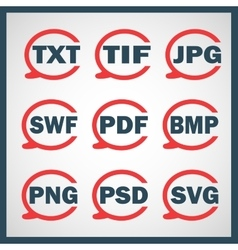 Set of icons indicating the digital formats vector