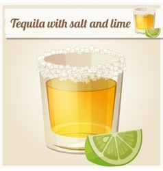 Tequila with salt and lime detailed icon vector
