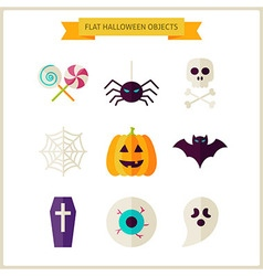 Flat halloween trick or treat objects set vector