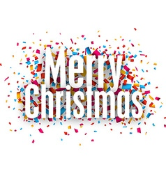 Merry christmas paper sign over confetti vector