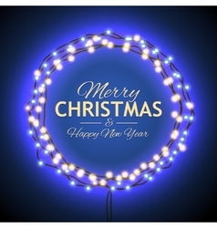 Congratulation to christmas with blue lights vector
