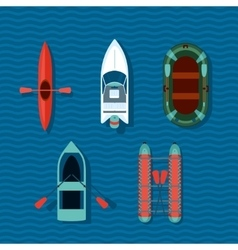 Boats collection top view of ships vector