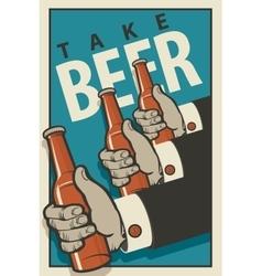 Hands with bottles of beer vector