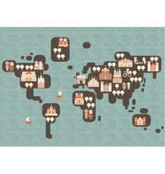 Abstract world diagram with buildings vector