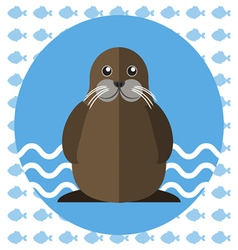 Abstract with a walrus on blue water vector image