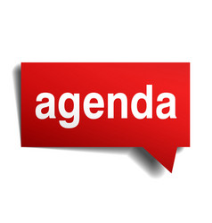 Agenda red 3d realistic paper speech bubble vector