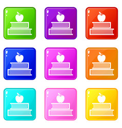 books and apple icons 9 set vector image