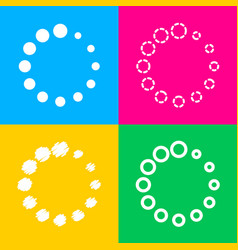 circular loading sign four styles of icon on four vector image