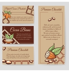 Cocoa beans and chocolate cards set vector image