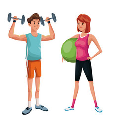couple training sport practice vector image