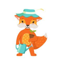 cute orange fox gardener character funny cartoon vector image vector image