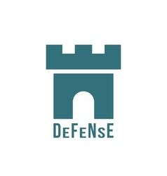 Defense logotype with fortress icon vector