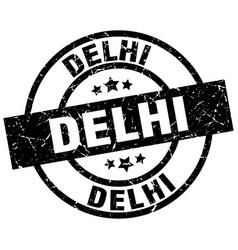 Delhi black round grunge stamp vector