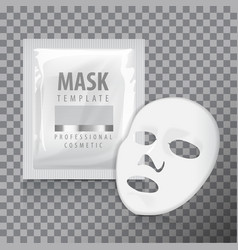Facial sheet mask with sachet blank mock vector