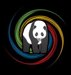 Fat panda standing cartoon logo vector