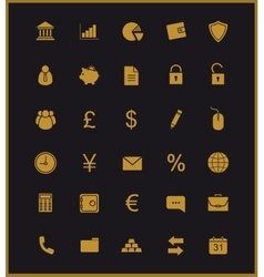 Finance and banking icons set Gold vector image