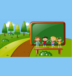 Four kids standing in park vector