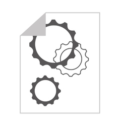 gears in paper isolated icon design vector image