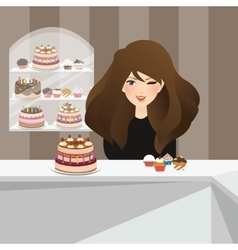girls smile in bakery store front of cakes dessert vector image vector image