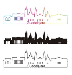 Guadalajara skyline linear style with rainbow in vector image vector image