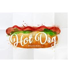 Hot dog watercolor vector image