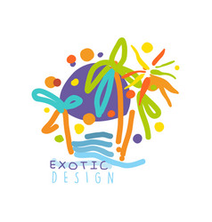 Logo for travel agency with exotic sightseeing vector