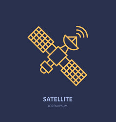 satellite flat line icon wireless technology vector image vector image