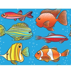 Seamless blue pattern with color fishes vector