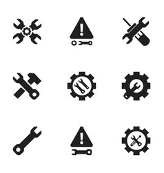 Set of 9 editable repair icons includes symbols vector