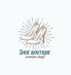 shoe boutique retro sign symbol or logo vector image