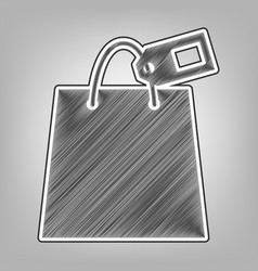 Shopping bag sign with tag pencil sketch vector
